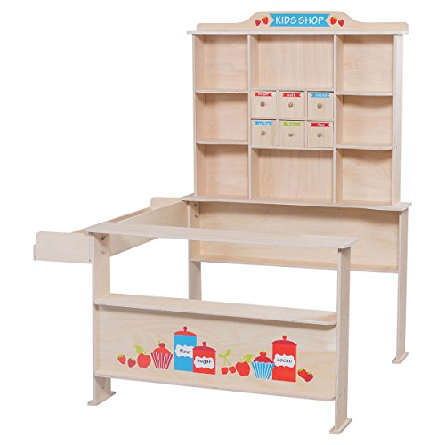 Costzon Kids Wooden Toy Shop, Grocery Supermarket Shopping Pretend Play Set Grocery Shop