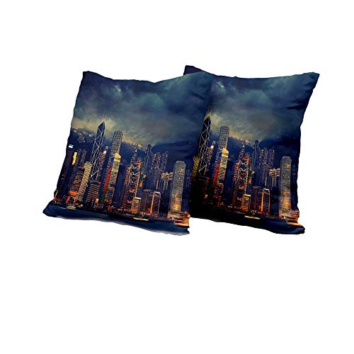 All of better Wheelchair Cushion Cover Cityscape,Hong Kong Cityscape Stormy Weather Dark Cloudy Sky Waterfront Port Dramatic View,Navy Gold Pillow Covers 24x24 INCH 2pcs