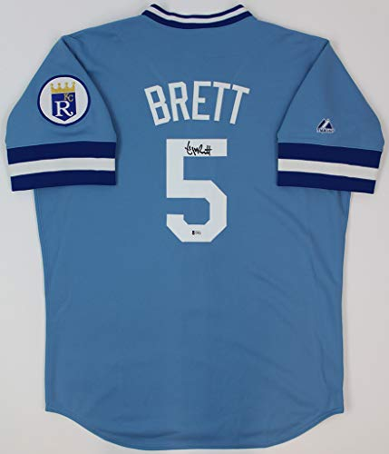 George Brett Autographed Blue Royals Jersey - Hand Signed By George Brett and Certified Authentic by Beckett - Includes Certificate of Authenticity