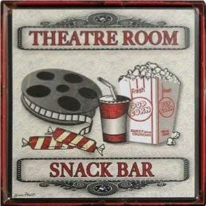 Amazon Com Hotpaint Movie Theater Decor Snack Bars Theater Ornament Theater Room Decor Metal Wall Art Posters For Guys Theater Room Snack Bar Tin Signs 11 8 11 8 Inches Home Kitchen
