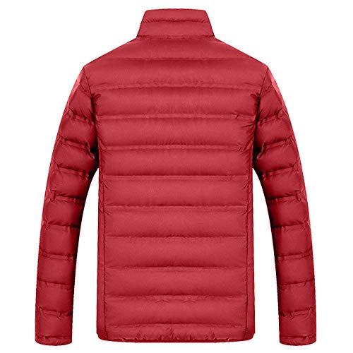 Chaqueta Rojo Tops Deportiva Mangas Jacket Casual Hombre Outwear Abrigo Largas Pluma Cazadora Cremallera Invierno Chaquetas Hombres Cierre De Parka CUrwCqxp