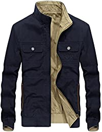 Men's Casual Stand Collar Full Zip Lightweight Reversible Bomber Jackets