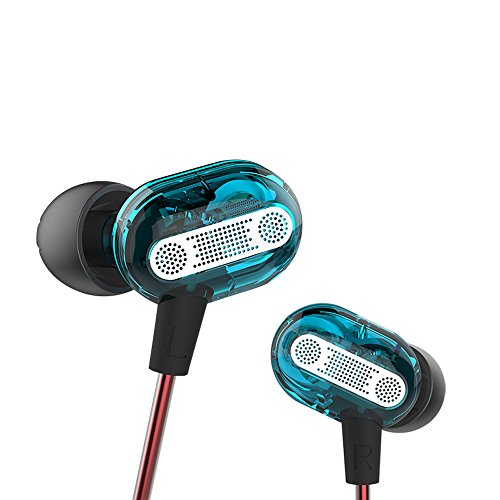in Ear Headphones QUNANEN Wired Noise isolating Stereo Headphones Dynamic HiFi Dual Driver Earphone Noise Isolating Sports Earbuds Without MIC Comfort-Fit for Running, Workout, Gym (Blue)