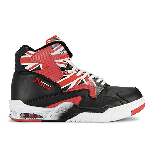 British Knights Union Doc HI Men's Hi-Top Leather Sneaker Black/White/Mars Red, 9.0