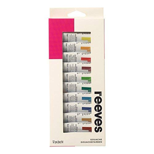 Reeves 12-Pack Gouache Color Tube Set, 10ml