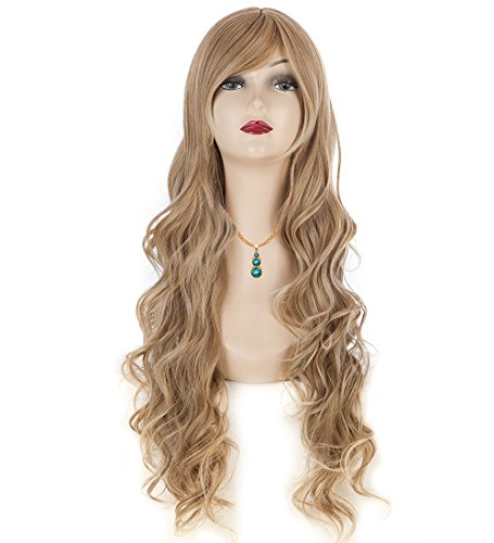 Smoosky Spiral Curly Cosplay Wig For Fashion Festival Long Costume Hair (Dark Gold)