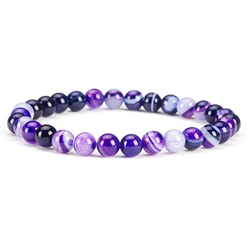 - Cherry Tree Collection Gemstone Beaded Stretch Bracelet 6mm Round Beads | Small - 6