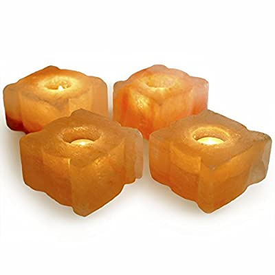 Hypnotic Gems Gallery: Pack of 4 Premium Quality Leaf Shaped Himalayan Salt Candle Holder - Natural Air Purifying Hand Carved Tealight Salt Lamp - Completely Natural Ionic Air Purifier