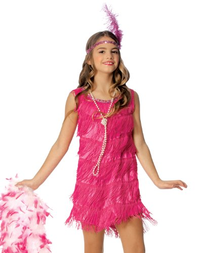 Official Costumes Flapper Kids Costume, Hot Pink, Large
