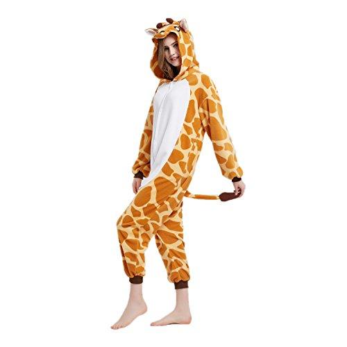 Unisex Adult Pajamas-Plush One Piece Cosplay Giraffe Animal Costume for Halloween Party Anime Cartoon (Anime Giraffe)