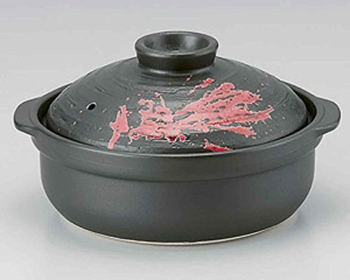 Ishime Fire for 3-4 persons 10.3inch Donabe Japanese Hot pot Black Ceramic Made in Japan by Watou.asia