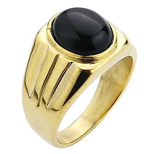 - Valily Men's Simple Design Ring Oval Tiger eye/Agate stone Ring for Women Stainless steel Fashion Band Ring Jewelry Gold Rings (9, Black-agate)