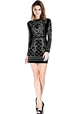 Missord Women's Long Sleeve Halter Studded Casual Mini Dress with Zipper Black