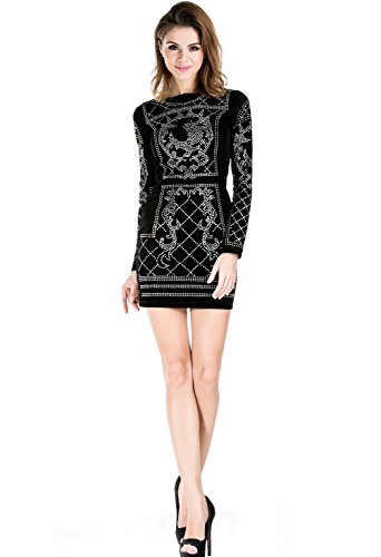 1b7b4eb5985a Missord Women's Long Sleeve Halter Studded Casual Mini Dress with ...
