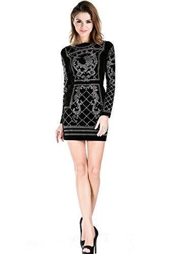 Missord Women's Long Sleeve Halter Studded Casual Mini Dress with Zipper Black Medium