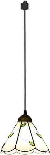 ANYE 1-Pack 4.8Ft H-Type Track Light Pendants Tiffany Retro Lighting E26 Nordic Retro Art Handmade Glass Shade Lighting Chandelier Bulb Not Included GD-TB0297-150