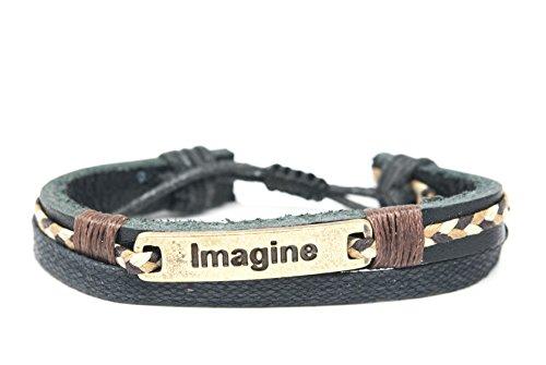 Orti Jewelry Original Fashion Bracelet – Handmade Leather, Metal & Rope Bangle, Stylish Design, Unisex Jewelry, Adorable Romantic Christmas Gift Idea – IMAGINE Metal Plate Leather Adjustable Unisex Bracelet ()