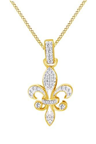 Jewel Zone US Mothers Day Jewelry Gifts Diamond Fleur-de-Lis Pendant in 10K Yellow Gold (1/5 cttw) ()