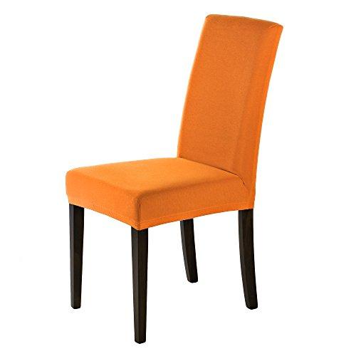 SCHEFFLER-HOME Sofie Stuhlhussen 2 Stück, Stretch-Stuhlbezug elastische moderne Husse, Dekoration Stuhl-Abdeckung aus Elastik-Stoff mit Gummiband für universelle Passform, bi-elastic Spannbezug, mit weichen Thermounterseite - Orange