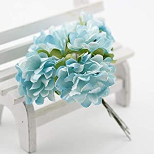GSD2FF 6 pcs Gift Box Scrapbooking Mini Carnation Paper Artificial Flowers Bouquet Wedding Decoration DIY Wreath Craft,Blue 27