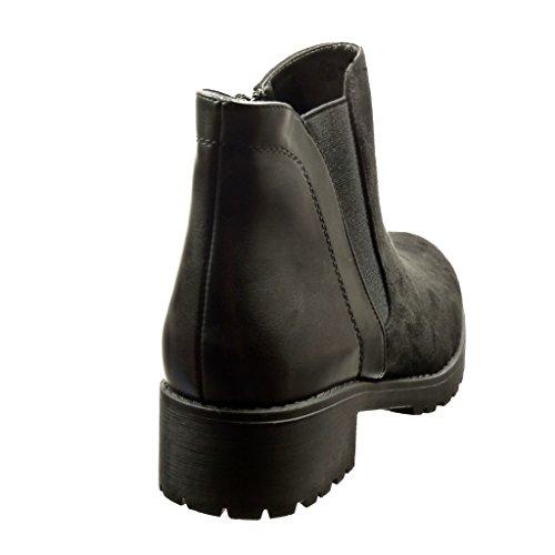 4 Preta Botas Salto Bi Do Calcanhar Botina Tornozelo Mulheres material Angkorly Cm Alto Bloco Sapatos De ZOwcqp