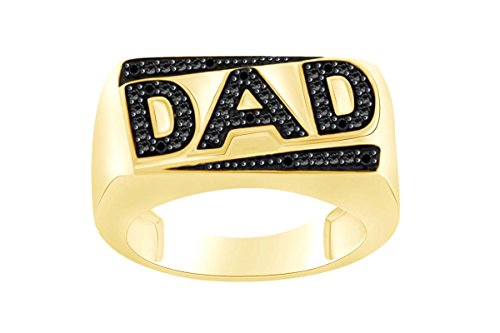 DAD Men's Ring In 14k Yellow Gold Over Sterling Silver Round Cut Black Natural Diamond AccentRing Size-9.5 (Mens Diamond Ring Dad Round)
