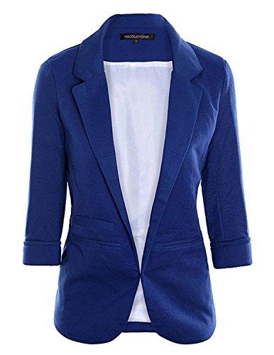 LULULADY Women's Cotton Rolled Up Sleeve Tailored Suit Blazer Jacket