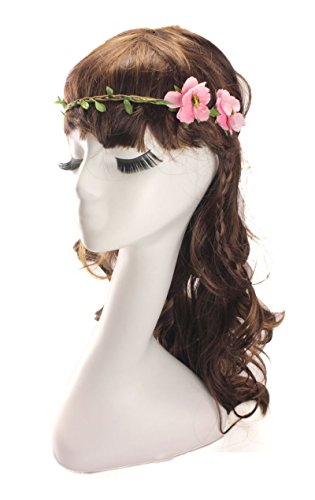 Dreamlily Women's 2 Roses Wreath Headband Floral Party Crown HairWear BC03(Pink) (Hawaiian Party Dress)