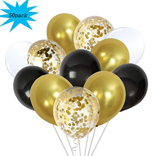 50 Pack Gold Confetti Balloons Metallic Gold Black Balloons, 12 inch White Pearl and Gold Party Balloons for Graduation Wedding Bridal Birthday Decorations]()