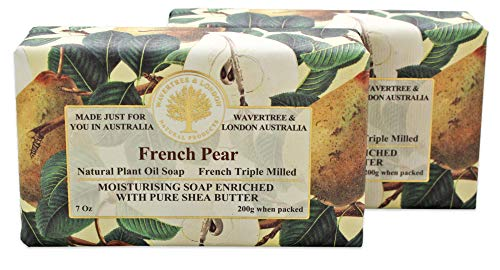 Wavertree & London French Pear (2 bars) - Triple-milled (twice) Shea Butter soap bar - Rich & Creamy Lather