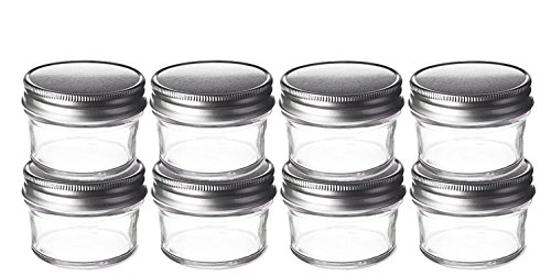 Perfume Studio® 4oz Mason Tapered Glass Jars with Silver Lids. (8 Jars Bulk Purchase). Use for Favors, Desserts, Jam, Candy, Honey, Baby Foods, Spices, Canning, Craft.