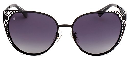 "PRIVÉ REVAUX ICON Collection ""The Monarch"" Handcrafted Designer Polarized Cat-Eye Sunglasses (Black)"