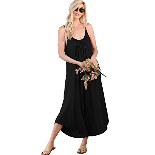 Preppy Doll Made in USA Women's Sexy Solid Tank Top Sleeveless Wide Leg V Neck One Piece Jumpsuit Set (Small, Black)