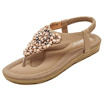 Poduo Leather Jeweled Womens Thong Sandals Flat Flip Flops Sandles