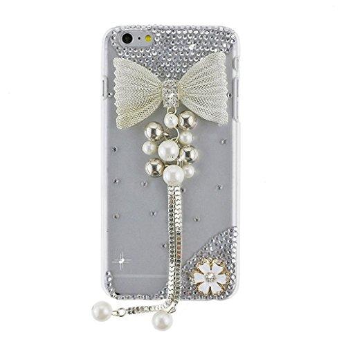 """EVTECH (TM) Coque 3D Bling Strass Case Transparent Back Cover Cristal Etui Housse Hard Coque pour iPhone 6 4,7"""" (2014)"""
