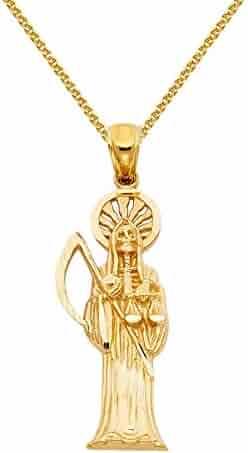 14k Yellow Gold Santa Muerte Religious Pendant with 1.5-mm Flat Wheat Chain