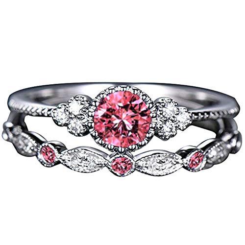 wpOP59NE 2Pcs/Set Finger Ring Jewelry Engagement Wedding Women Rhinestone Inlaid Stacking Pink US 8