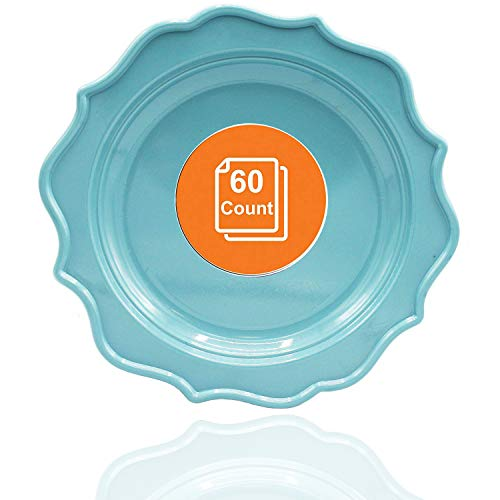 Tiger Chef 60-Count, 10-inch Sea Blue Color Round Scalloped Rim Disposable Plastic Plate Set Includes 60 Plastic Dinner Plates - BPA-Free