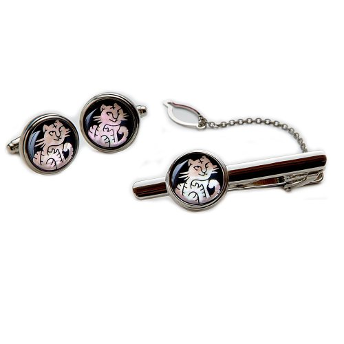 (Mother of Pearl White Tiger Round Tie Clip Bar Clasp Pin Tack Tac Cufflinks Set)