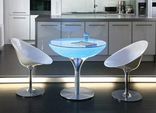 Esstisch Lounge 75 LED Pro Accu Rundtisch Leuchttisch Esszimmertisch by Moree, Tischplatte:mit Glasplatte;Farbsteuerung:RC-Fernbedienung