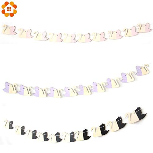 Banner Party Banners 8x2ft 1Set Swan Woodchips Wood Banner Garland Wall Hanging for Home Party Kids Bedroom Wall Decor Bed Background Decoration (Random)