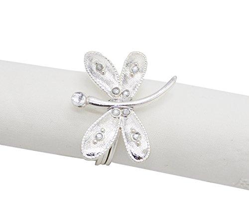 - Fennco Styles Dragonfly Metal Design Napkin Ring-Set of 4 (Silver)