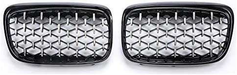 フォグライトグリル ダイヤモンドスタースタイルフロントグリルバンパー腎臓フィット感のためのBMW 2シリーズF45 F46 216i 218i 225i 220I 2015年から2017年自動車部品 フォグライトフレーム (Color : Black edge)