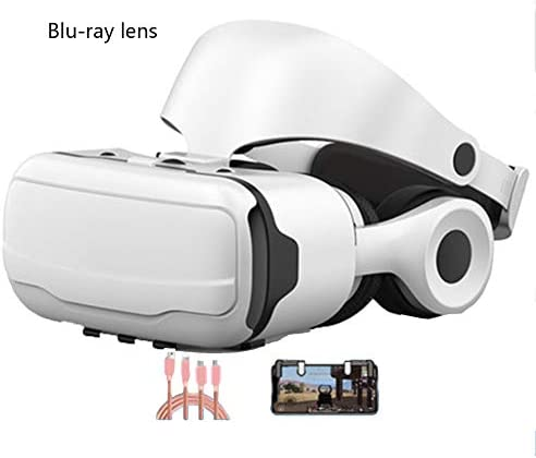 バーチャルリアリティのメガネ 3Dメガネ, ヘッドマウント 視聴覚統合 4.7〜6.0インチのiPhone / Android携帯に対応 ゲーム/映画,White,Package3