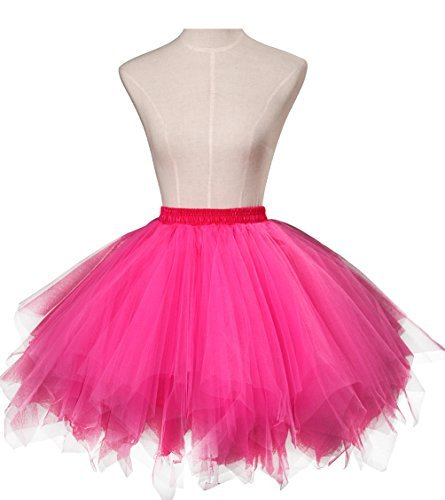 Dresstore Women's Short Vintage Petticoat Skirt Ballet Bubble Tutu Multi-colored Fuchsia S/M