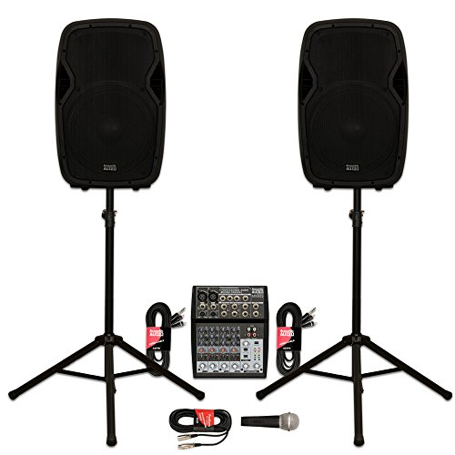 """Acoustic Audio AA15BT Powered 2000 Watts 15"""" Bluetooth Speaker Pair with Mixer Mic and Stands"""