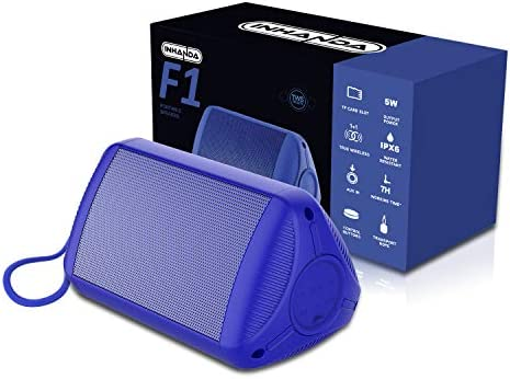 INHANDA F1 Portable Bluetooth Speaker with Rich Bass, Louder Volume, Crystal Clear Stereo Sound, 33 Ft Wireless Range, Bluetooth 5.0, Microphone,Waterproof IPX6, for Shower/Poolside/Beach - Blue