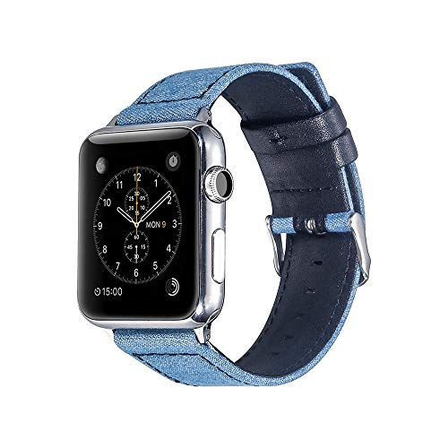 For Apple Watch Series 4, Polwer Fashion Leather Denim Replacement Wristbands (40MM, D)