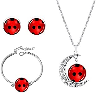 3pcs/Set Miraculous Ladybug Necklace Bracelet Earrings Jewelry
