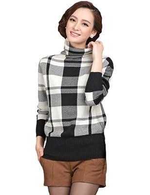 Camii Mia Women's Turtle Neck Checkered Casual Pullover Sweater